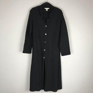 Marconi 100% wool long button jacket coat black